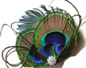 Peacock Hair Clip Peacock and Sword and Rhinestone Wedding Hair Fascinator Clip