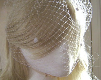 """Elegant 9"""" Birdcage Veil French Russian Netting Wedding Black or White with Chenille Dot"""