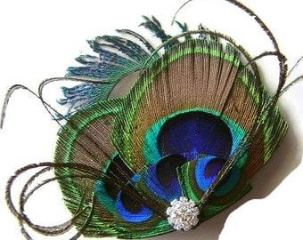 Peacock Hair Clip Peacock and Sword and Rhinestone Wedding Hair Fascinator Clip