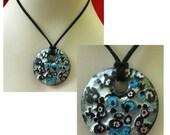 Black, Silver & Blue Art Glass Pendant Necklace Jewelry Handmade NEW Fashion OOAK Accessories