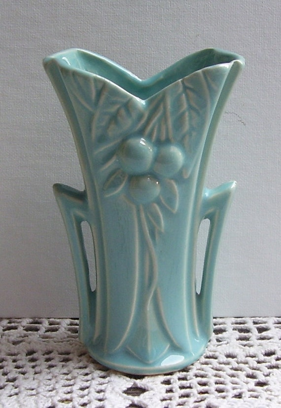 Small Mccoy Aqua Naturalistic Bud Vase By Swancreekcottage