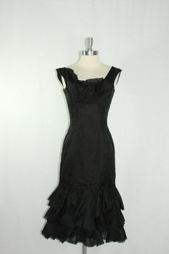 1950's Dress - Silhouette  Vintage Black Organdy Designer CEIL CHAPMAN for Study or Theatre
