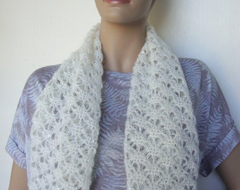 Crochet Scarf, Lace Scarf, Gift for Mom, White Scarf, Women's Scarves, Sequined Mohair Scarf