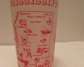 Vintage Souvenir State Glass Tumbler Mississippi Frosted White Red Vacation Travel