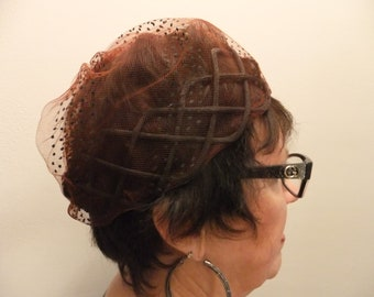 Vintage Hat Pillbox Brown with Netting Retro Accessories Formal Retro Womens Ladies