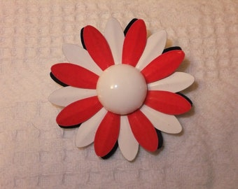 Vintage Brooch Pin Enamel Red White Blue Flower Costume Jewelry