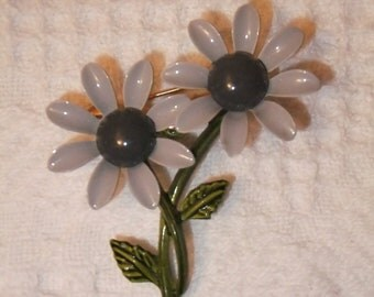 Vintage Brooch Pin Enamel Daisies Gray Daisy Costume Jewelry