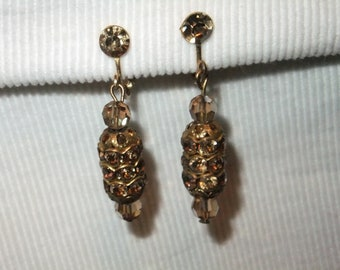 Vintage Earrings Clip On Faux Amber Stone Gold Tone Retro Costume Jewelry