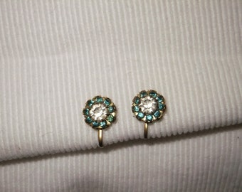 Vintage Earrings Screw Back Goldtone Green Clear Faux Stones Retro Costume Jewelry Round