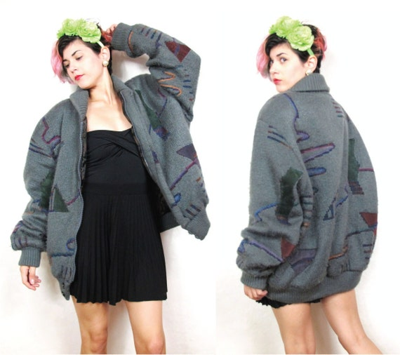 Abstract Print Suede Patches Shawl Collar Sweater Coat (L/XL)