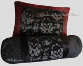 Gothic Tribal Skull Pillows - Set of 2 / Elegant Halloween Skull Decor Bedding