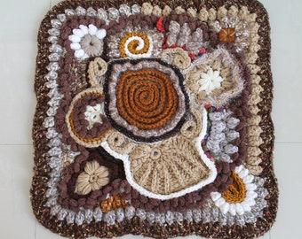 SALE 50% OFF Unique Freeform Crochet Wall Hanging - Rug - Afghan- Gift