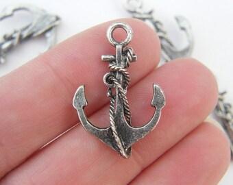 6 Anchor pendants  antique silver tone AN4