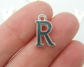 8 Letter R alphabet charms silver plated