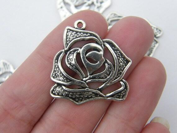 5 Rose pendants 27.5 x 27mm tibetan silver
