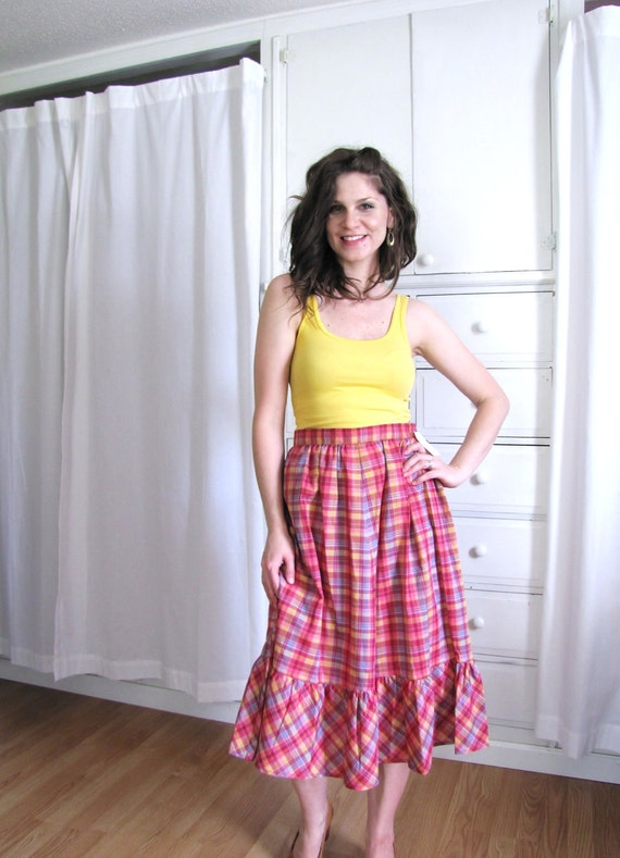 Vintage 1970's Pink Madras Plaid Ruffle Skirt NOS