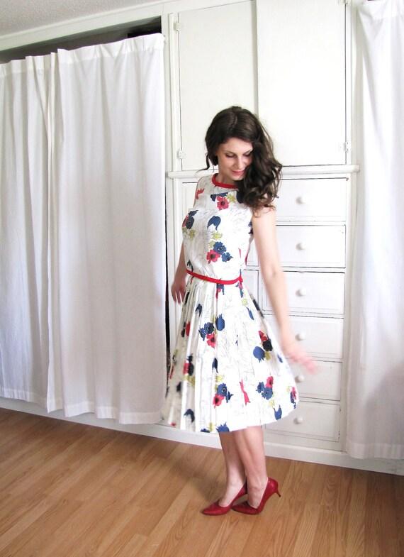 60s Dress / 1960's Dress / Floral Dress / Pleated Dress