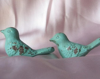Sale - Set of Two Bird Knobs/ Bird Drawer Knobs / Drawer Pulls/ Shabby Chic/ Rustic/ Cupboard Knobs/ Drawer Handles/ Nursery/Robins Egg Blue