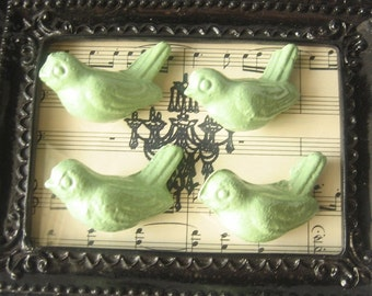 Cast Iron BIRD KNOBS - Cabinet/ Drawer Knobs - Set of 4 in Sage