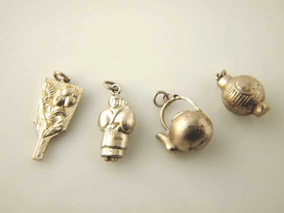 asian charms silver metal vintage jewelry