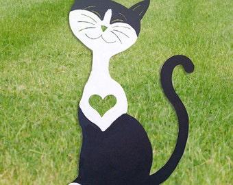 Tuxedo Cat Garden Stake or Wall Hanging / Memorial / Black and White Cat / Garden Ornament / Garden Art /  Yard Art / Yard Art / Metal