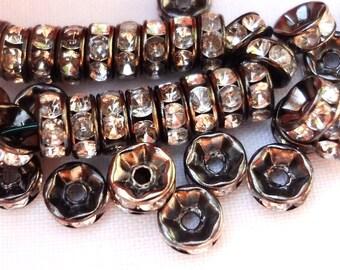 100pcs - 6mm - black metal - clear rhinestone rondelles - Spacer beads