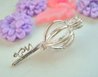 Wholesale - bulk - discount - 5pcs Silver Plated - Key - locket - pearl cage - pendant - Key to my heart - Quality supplies since 2009