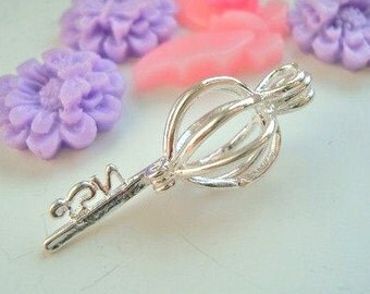 Wholesale - Bulk Discount - 5pcs - Silver Plated - Key - locket - pearl cage - pendant - Key to my heart - Quality supplies since 2009
