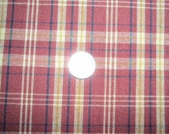 Homespun Burgundy/Taupe Plaid Fabric - 1 Yard Piece - DESTASH