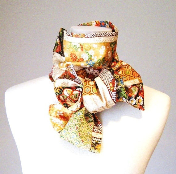 Vintage KIMONO Scarf golden forest ivory based gold orange red brown  black flower Japanese motifs size free made to order