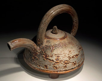 Shino Glaze Ceramic Teapot in Brown Handmade Pottery Art by artist  Boris Vitlin