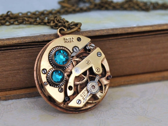JE T'AIME antiqued brass steampunk watch movement jeweled necklace with Swarovski rhinestones