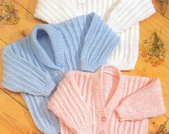 Baby Knitting Pattern Download PDF - Baby Jackets/Cardigans/Sweater - Prem sizes 12 in up to 24 inch chest