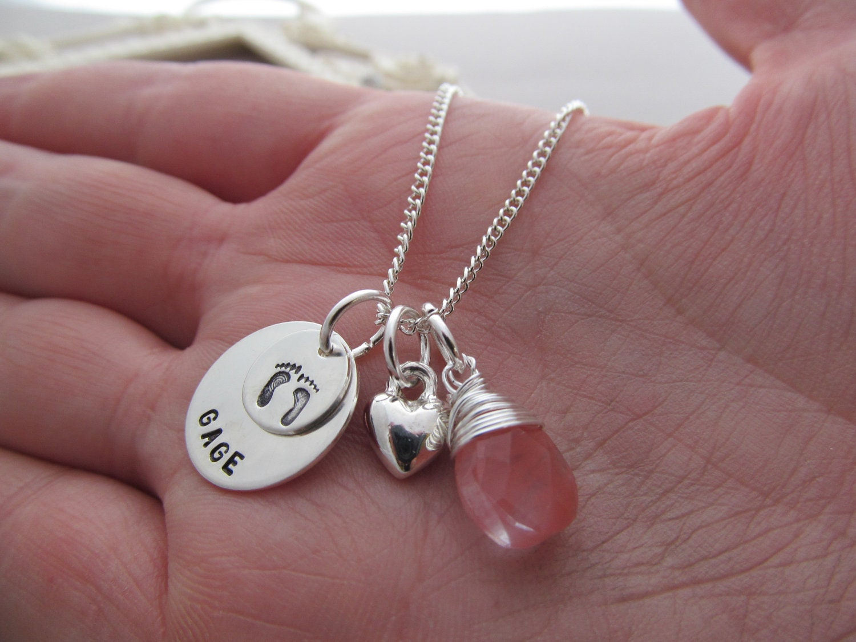 Personalized New Mom Necklace Baby Name By Vonmeyerjewelry