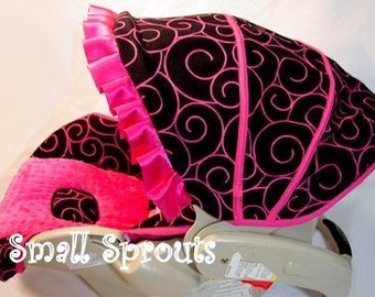 Custom Boutique Black Swirl Hot Pink Infant Car Seat Cover 5 Piece set