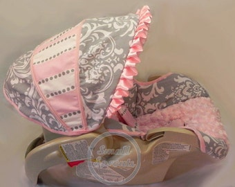 Baby Trend Flex Loc Grey Damask Stripe with light Pink Minky Infant Car Seat Cover 5 Piece set-Ready To Ship