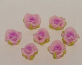Pale Pink Polymer Clay Rose Flower Beads 10mm