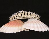 Swarovski crystal tiara in cream pearl and clear crystal for bride, bridesmaid, prom