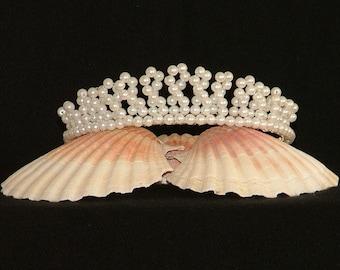 White faux pearl tiara for bride, bridesmaid, prom