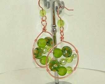 Copper and Green Millefiori Hooped Dangle Earrings