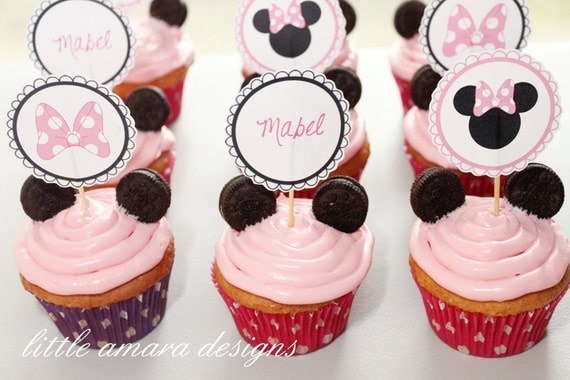 Minnie Mouse Cupcake Toppers or Tags DIY