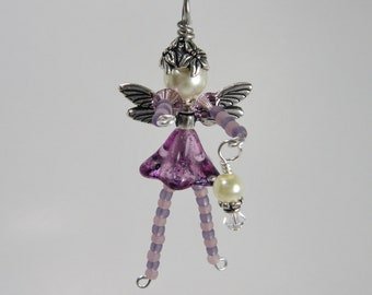 SUGARPLUM Fairy - Purple Fairy Decoration - OrnamentBeaded Fairy Ornament - Wine Bottle Charm - Christmas Decoration - Christmas Fairy