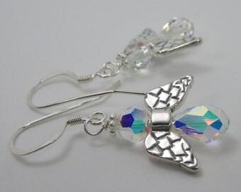 GUARDIAN ANGEL Earrings, Inspirational Jewelry, Angel Jewelry, Swarovski Crystal Angel, Sterling Silver Angel Wings, Christmas Angel