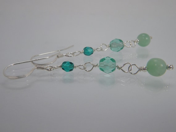 RESERVED for Katie FREE SPIRIT Earrings -  Turquoise Blue and Aqua Green Beads - Cool Colors - Sterling Silver - Free Shipping