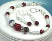 Cherry Red Agate Gemstone White Pearls Bracelet and Earrings Jewelry Set Red Agate Gemstone Beads  Swarovski Crystal Pearls