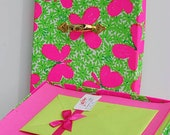 Preppy Lilly Pulitzer Vintage Stationery Stationary Lilly Pulitzer fabric Box Vintage paper Pink and Green