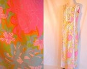 Large Vintage Lilly Pulitzer Maxi Dress Pink and Blue Preppy vintage 60s dress 12 14