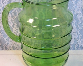 Vintage Green Depression Glass Ringed Pitcher Anchor Hocking, 1920s Antique Glass, Vintage Kitchen Collectible, Ice Tea Serving Pitcher