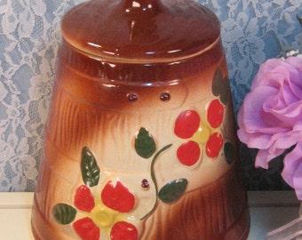 Vintage McCoy Pottery Brown Red Flower Butter Churn Cookie Jar, 1930's to 1940's Cookie Jar, Vintage Kitchen, Collectible Cookie Jar,