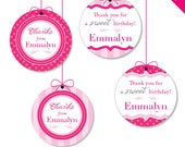 "Pretty In Pink Party - Personalized DIY printable 2"" favor circles"